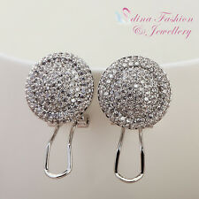 18K White Gold Plated Diamond Studded Round Cluster French Clip Stud Earrings