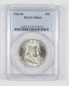 1962-D MS64 Franklin Half Dollar - 90% SILVER - - PCGS Graded *739