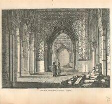 Salle de la Justice dans Alhambra Grenade Andalousie Espagne GRAVURE PRINT 1837