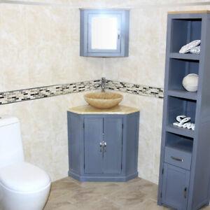 Grey Painted Bathroom Corner Vanity Unit Free Standing Golden Onyx Top & Basin