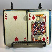 Vintage 2 decks Redislip Playing Cards Granco Steel Company advertising W/box