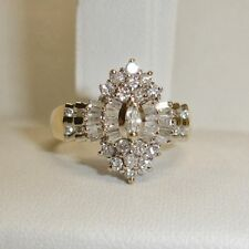 2 Carat Diamond 14K Yellow Gold Marquise Cluster Engagement Wedding Ring