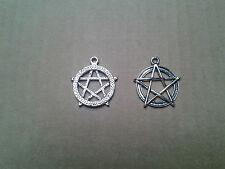 Gr. PENTACOLO, esoterismo, magia, Gothik, simbolo di elementi, CIONDOLO, Amuleto, NUOVO