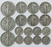 US 90% Silver Lot - Liberty Designs (Mercury Standing Walking) - 17 Coins