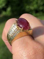 $4500 Diamond Oval Ruby Cabochon 18K Yellow Gold Retro Vintage Ring Certified