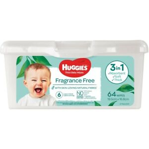Huggies Thick Baby Wipes Fragrance Free 64 Pack