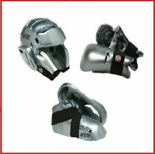 Silver Sparring Gear Set Karate Pads Head Helmet Hand Foot Guards Kids or Adults