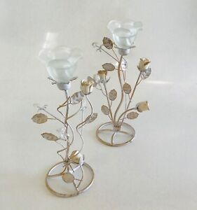 Wedding Frosted Glass Rose Tea Light Holder Centrepiece Candle White/Gold Deco 2