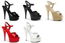 "PLEASER Delight-609 Black Pink White Cream Pole Dancer Club Ankle Strap 6"" Heels"