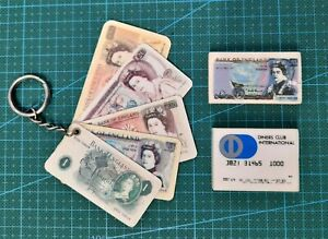 Fab Vintage 1970's/80's Novelty Erasers Rubbers & Keyring Bank Notes Credit Card