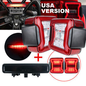 USA Red LED Taillights Turn Signal + 3rd Brake Light for Jeep Wrangler JL 2018+