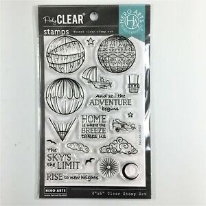 Hero Arts Sky's The Limit Balloons Clear Stamp Set Hot Air Balloon Airplane