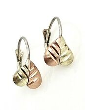 Vintage Sterling Silver 3-Tone Vermeil Tiny Textured & Diamond Cut Leaf Earrings
