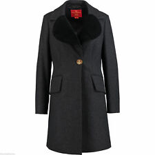 VIVIENNE WESTWOOD Red Label Wool/Cashmere/Velvet Coat CHARCOAL BNWT £805 UK 8
