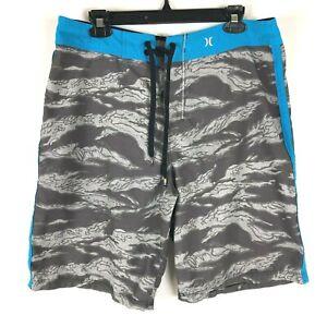 HURLEY Board Shorts Mens Size 32 Blue Gray Drawstring Waist