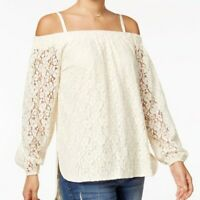 NWT Women's  Off The Shoulder White High-Low Lace Top Blouse Boho ivory small