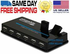 Plugable USB Hub, 10 Port - USB 2.0 with 20W Power Adapter & Two Flip-Up Ports
