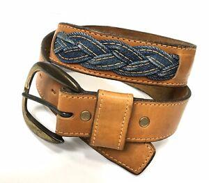 Vintage Levis Leather Braided Belt Denim Gold Stitching Mens 30 S Brass Buckle
