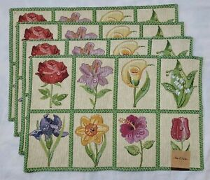 4 Spring Floral Easter Tapestry Placemats Set Bulbs Pink Green Yellow 19x13