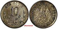 Mexico SECOND REPUBLIC Silver 1895 GO R 10 Centavos Guanajuato Toned KM# 403.5