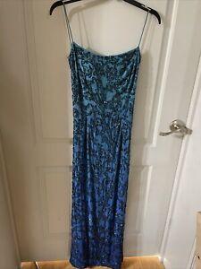 Cache Beaded Dress-Womens- Blue- Size M