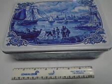 "Nautical Motif Tin Box Hinged Cover Blue & White 8.25"" x 5.25"" x 2.375"" w Ships"