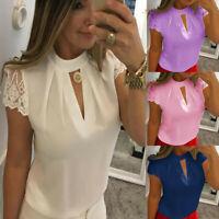 Womens Ladies Plus Size Chiffon Blouse Short Sleeve Splice Lace Crop Top Shirts