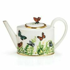 Wings of Grace Porcelain Butterfly Teapot With Gold Trim for Fine Dining Home