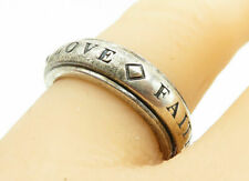925 Silver - Vintage Faith Hope Love Etched Band Spinner Ring Sz 6 - R12456