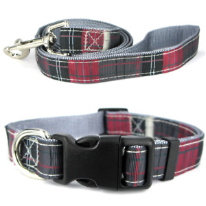 Soft Adjustable Tartan Check Nylon Dog Collars, Leads, Collar & Lead Sets, Grey