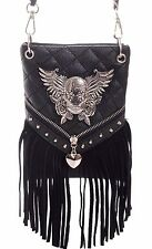 Winged Sugar Skull~Fringed Mini Crossbody Bag Purse~Studs~Gothic~SteamPunk~Black