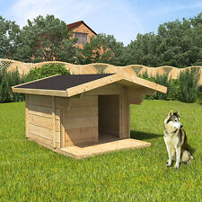 XXL Hundehütte Hundehaus 170x90x140cm Vordach Hundezwinger Massiv Echtholz Hütte