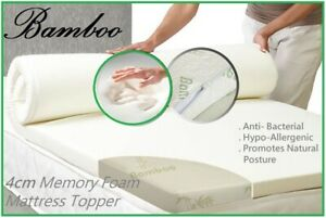 Bamboo 4CM Thick Memory Foam MATTRESS TOPPER 1 (VARIOUS SIZES)