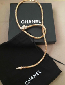 CHANEL Vintage Snake 24k Gold Plated Neckless/Belt/Bracelet (93cm) Authentic