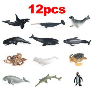 12pcs Kids Toys Plastic Sea Animals Ocean Shark Dolphin Whale Model Figures Gift