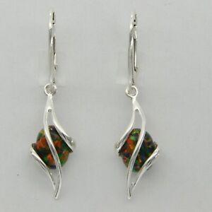 xxx FIRE OPAL Oval Dangle Earrings 925 STERLING SILVER Leverback #246e