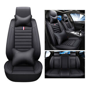 2021 Universal PU Leather Car Seat Covers Front Rear 5-Seats Cushion Cover Set