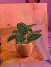 painting on canvas hand painted plant acrylic and watercolor