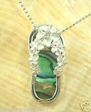 Paua Abalone Cz Slipper Pendant 10mm Sterling Silver Hawaiian Graduated Plumeria