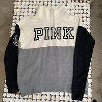 PINK Victoria Secret Half Zip Pullover Sweatshirt Black White Grey Size XS NICE