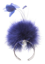 Peacock Dance- Midnight Blue Soft Feathered Ball & One Fits All Bracelet.(Zx87)