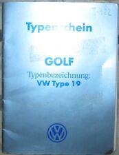 * VW  Golf 2 Carat  Typ 19 90 PS 1984  Österreichischer Typenschein  SAMMLER *
