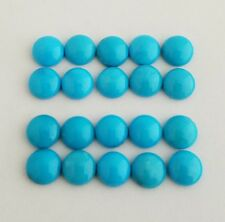 10 Round Shaped Natural Sleeping Beauty Turquoise Cabochons 6mm