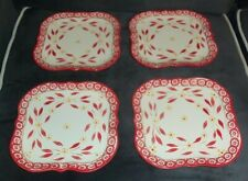 """New listing 4 Pieces Of Temp-Tations Old World Red 8"""" Square Salad Plates New Oven Safe"""