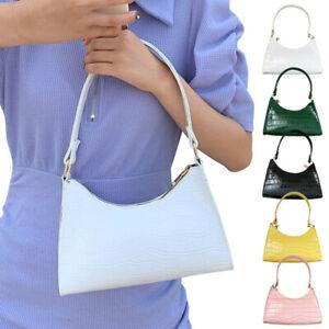 Women PU Leather Clutch Bag Retro Baguette Bags Shoulder Underarm Handbags Totes