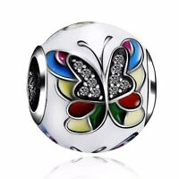 Fashion Butterfly Charms Bead Fit 925 Sterling Silver European Bracelets Bangle