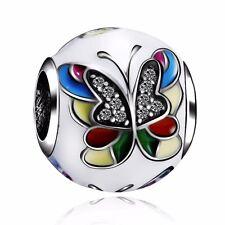 European Silver Beauty Butterfly Charms Bead Fit 925 Sterling Bracelets Chain