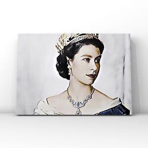 Queen Elizabeth II coronation portrait illustration   Canvas Wall Art