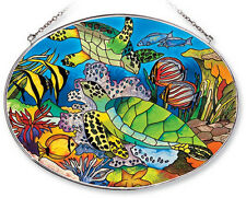 """SEA TURTLES Sun Catcher Tropical Fish Reef AMIA Hand Painted Glass 6.5""""x9"""" New"""