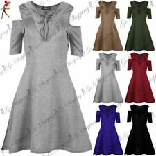 Short Sleeve Mini Dresses for Women with Cold Shoulder